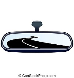Car mirror and the road