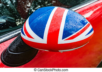Great Britain - Car mirror in Detail with flag of Great...