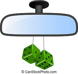 Car mirror with pair of green dices on white background
