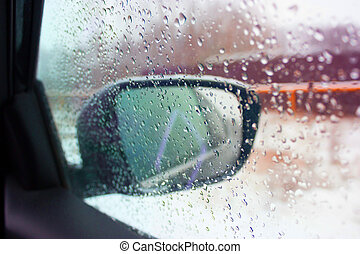car mirror with water drops
