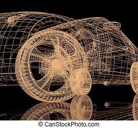 Car model on black background