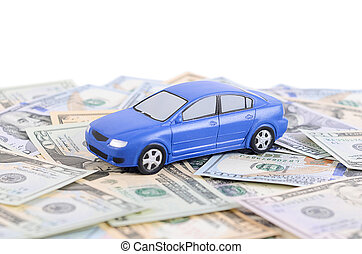 Car model on dollar bills