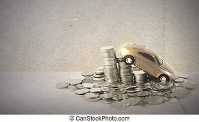 Car Model Over Stacked Coin