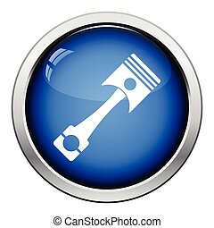 Car motor piston icon. Glossy button design. Vector...