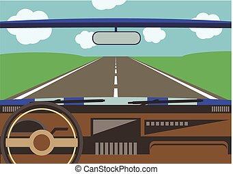 car, motorista, estrada, vista, janela