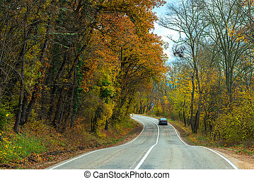 Car moving along a winding road in the mountains on an autumn afternoon