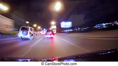 Car moving on the night highway