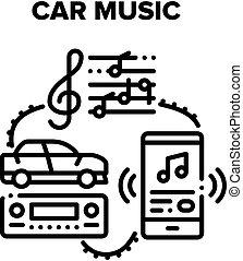 Car Music Device Vector Black Illustrations