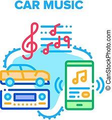 Car Music Device Vector Concept Color Illustration