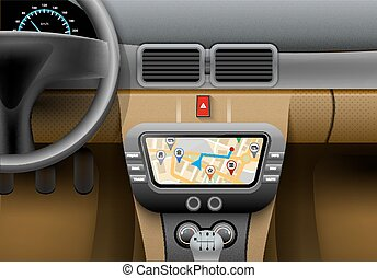 Car Navigation Syster - Realistic car interior with auto...