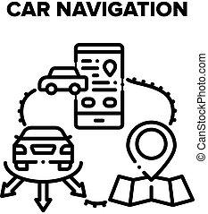Car Navigation Vector Black Illustration