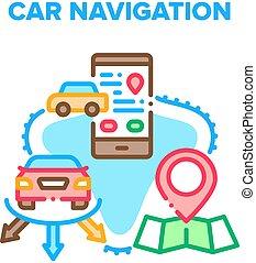 Car Navigation Vector Concept Color Illustration
