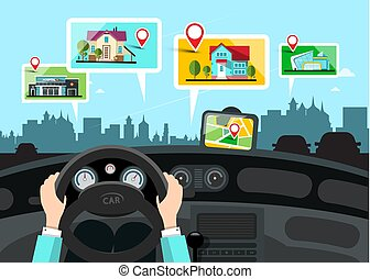 Car Navigation with City Public Buildings Map - Vector