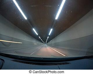 car, night., rapidamente, dirigindo