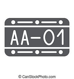 Car number glyph icon, automobile and part, metal number sign, vector graphics, a solid pattern on a white background.