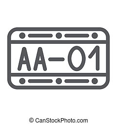 Car number line icon, automobile and part, metal number sign, vector graphics, a linear pattern on a white background.