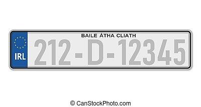 Car number plate. Vehicle registration license of Ireland