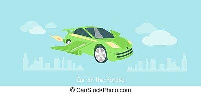Car of Future Icon Flat Isolated