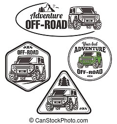 car off-road 4x4 suv trophy truck logo set