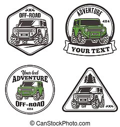 car off-road 4x4 suv trophy truck logo template set