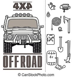 Car off road 4x4 truck icon set