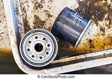 Car oil filter - Close up old and dirty car oil filter,...