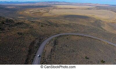 Car on a dirt road Hart Mountain Antelope Refuge Aerial Oregon