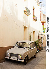 Car on a street in the city of Sete,  south France, Europe
