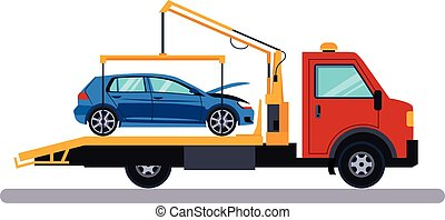 Car on Evacuator. Vector Illustration