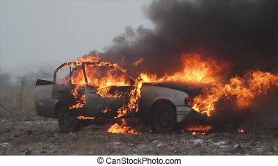 Car On Fire, Burning Car In The Field - Burning car, Car...