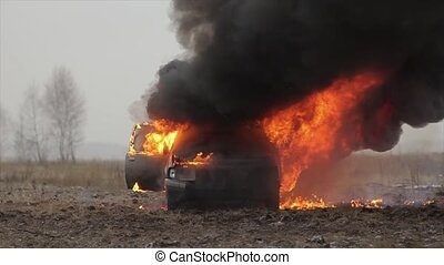 Car On Fire, Burning Car In The Field, Front View - Burning...