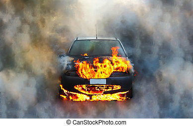 Car on fire - Photo of a car on fire