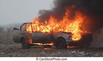 Car On Fire Slow Motion, Burning Car In The Field - Burning...