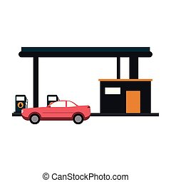 Car on gas station