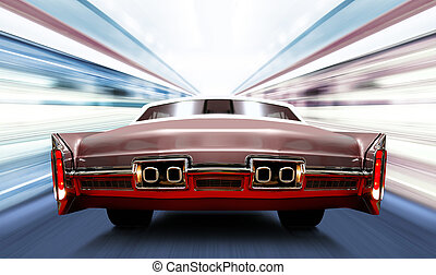 car on high-speed road - car on luminous high-speed road of ...