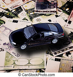 Car on money background - business concept
