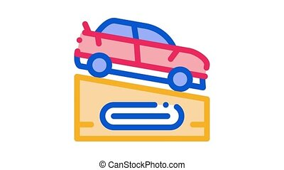 Car On Pedestal Icon Animation. color Car On Pedestal animated icon on white background