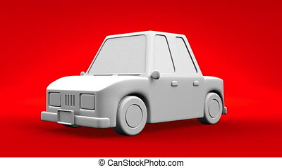 Car On Red Background