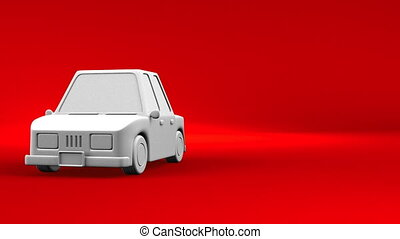 Car On Red Text Space. Loop able 3DCG render Animation.