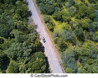 Car on road aerial view