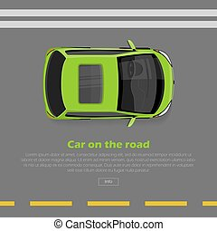 Car on Road Conceptual Flat Vector Web Banner