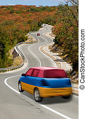 traveling car in national flag of armenia colors and beautiful road landscape for tourism and touristic adertising