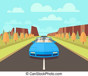 Car on road with outdoor landscape. Vector flat travelling concept background