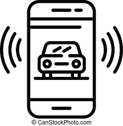 Car on smartphone screen icon, outline style