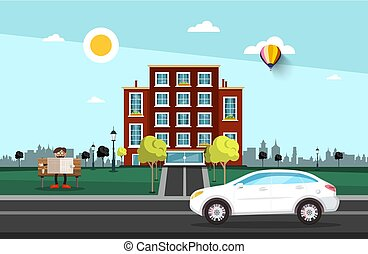 Car on Street with City Building on Background and Man Reading Newspapers on Bench in Park