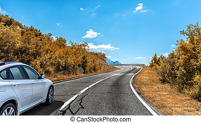 Car on the autumn road.