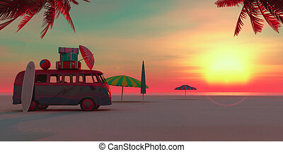 car on the beach and sunset in summer