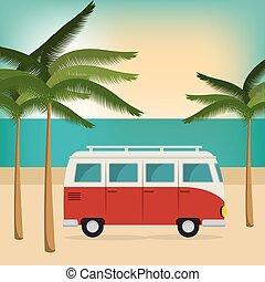 car on the beach summer vacations