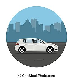 Car on the city background
