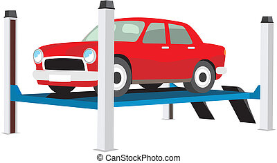 Car on the lift - vector image red car on a lift